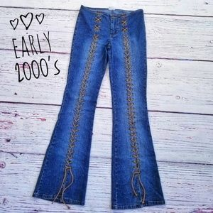 Vintage 2000s Lace Up Low Rise Hippie Jeans